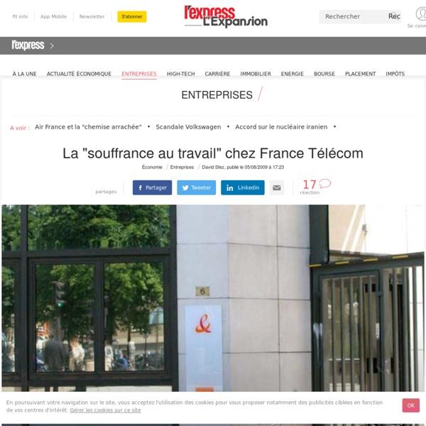 """[2009] La """"souffrance au travail"""" chez France Télécom"""