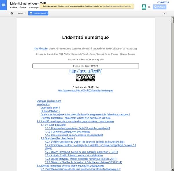 L'identité numérique - WIP - Google 文件