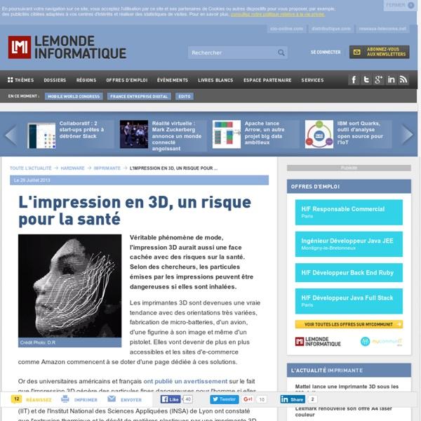 L'impression en 3D, un risque pour la santé