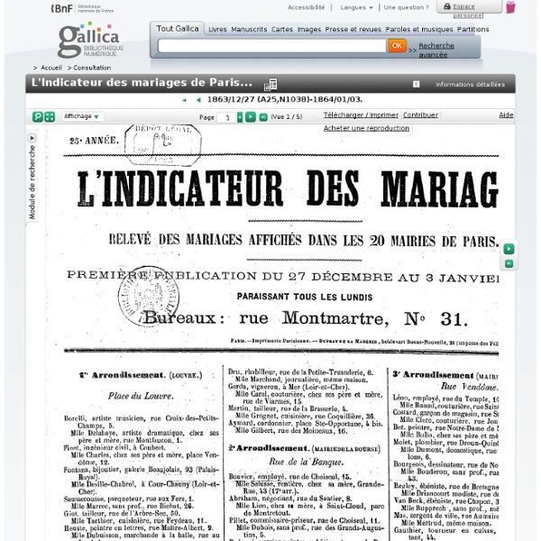 L'Indicateur des mariages de Paris...