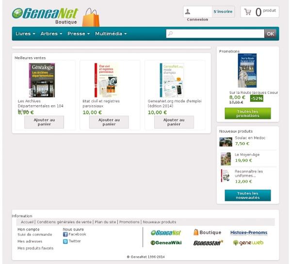 Généalogie - La boutique GeneaNet, La plus grande boutique de généalogie sur internet - Généalogie : Arbres et Fiches