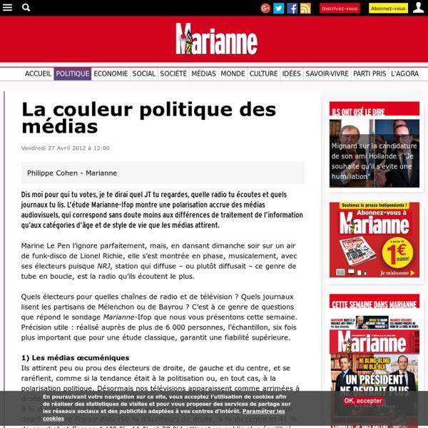 Sondage-La couleur politique des médias