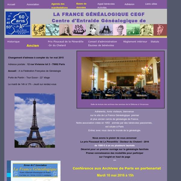 La France Généalogique (CEGF) : généalogie, recherches généalogiques en France, entraide généalogique