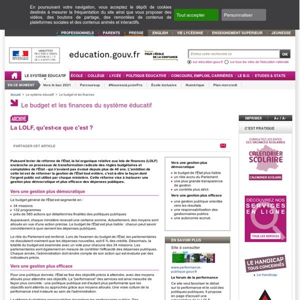 01/08/2001 LOLF Loi Organique relative aux Lois de Finances