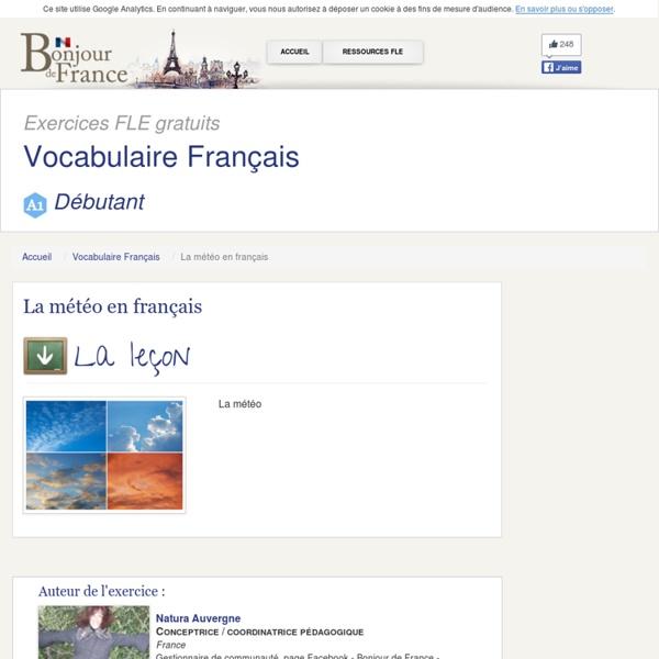 Bonjour de France vocabulaire- meteo