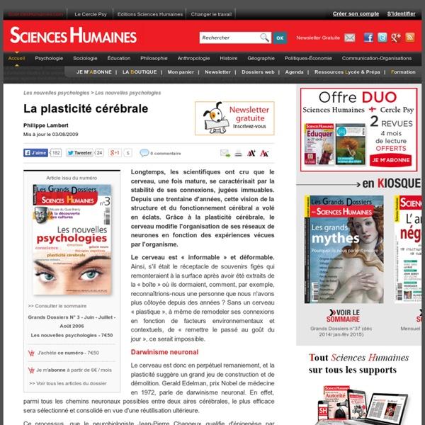 La plasticité cérébrale - Philippe Lambert, article Psychologie