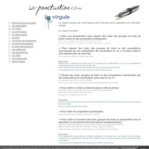 LA PONCTUATION - La virgule