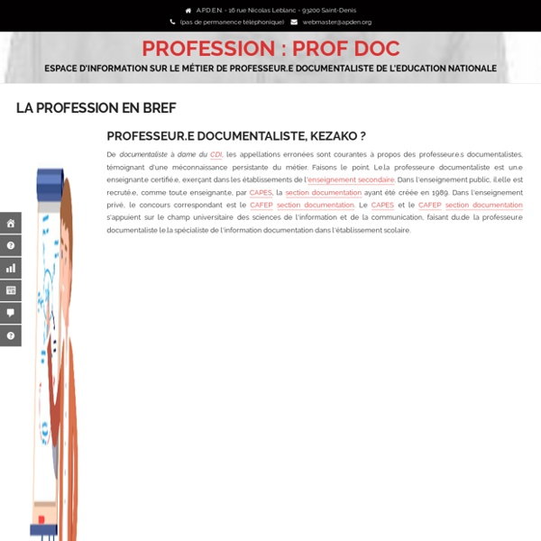 La profession en bref – PROFESSION : PROF DOC