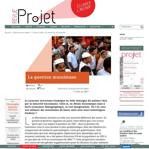 """Inde -""""La question musulmane"""" Revue Projet, 2009"""