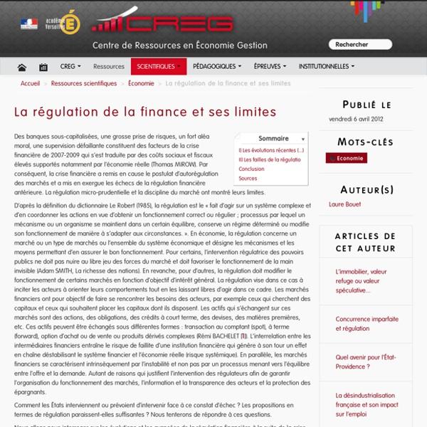La régulation de la finance et ses limites
