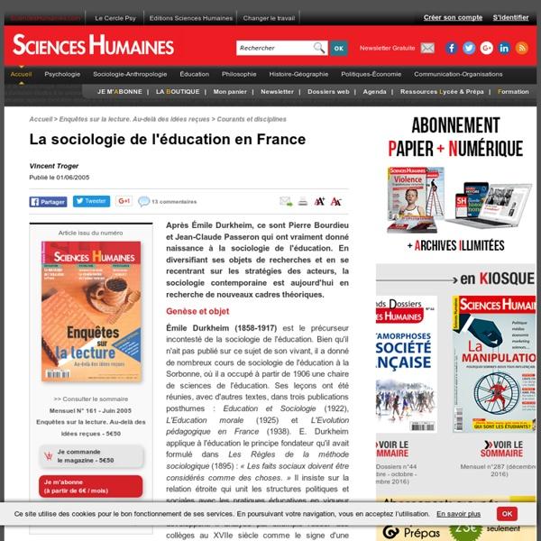 La sociologie de l'éducation en France