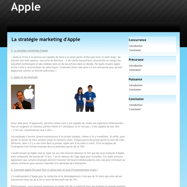 La stratégie marketing d'Apple - Apple