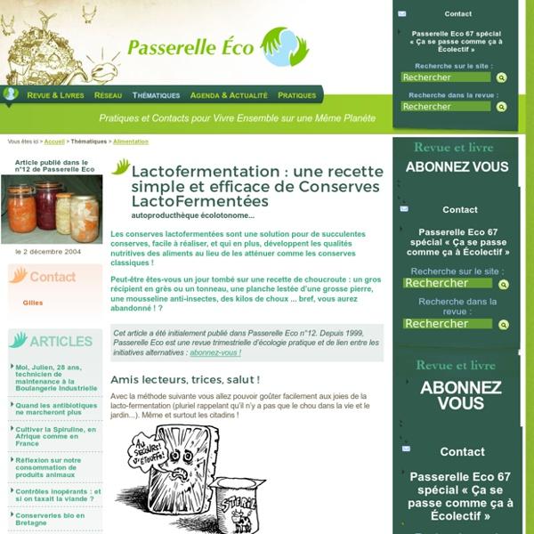 Lactofermentation : une recette simple et efficace de Conserves (...) - autoproducthèque écolotonome - Alimentation