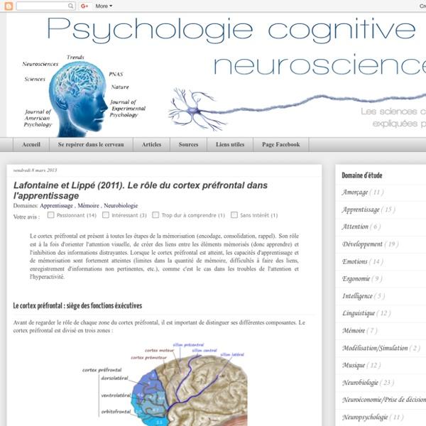 Psychologie cognitive et Neurosciences: Lafontaine et Lippé (2011). Le rôle du cortex préfrontal dans l'apprentissage
