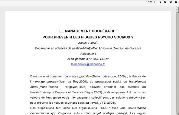 Le management coopératif: pour prévenir les risques psycho sociaux?