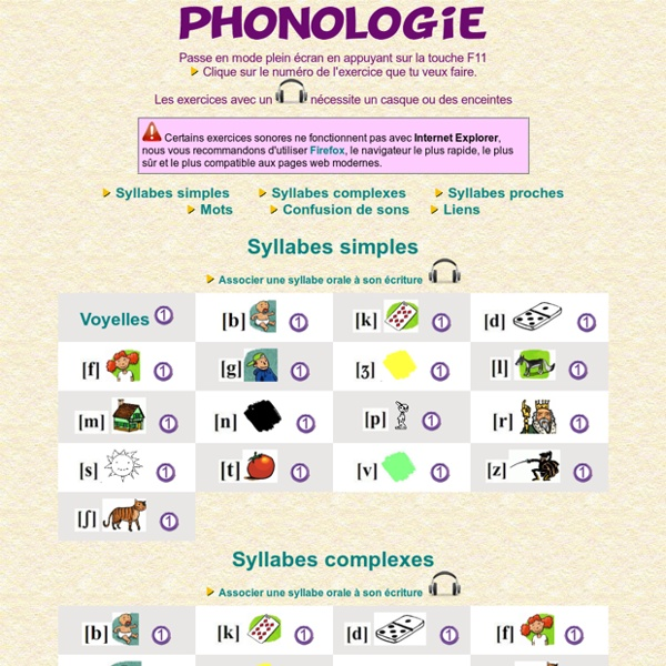 Ecole Lakanal - Exercices en ligne - Phonologie | Pearltrees
