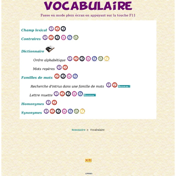 Ecole Lakanal - Exercices en ligne - Vocabulaire