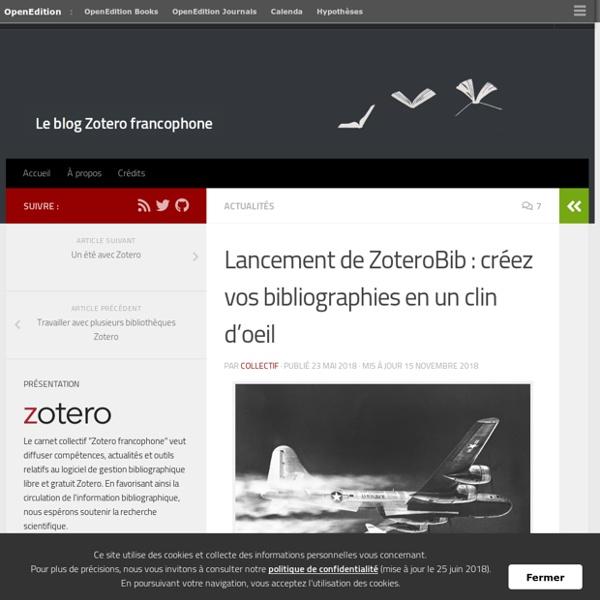 Lancement de ZoteroBib : créez vos bibliographies en un clin d'oeil