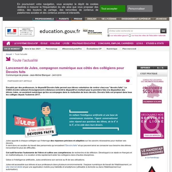 Lancement de Jules, compagnon numérique aux côtés des collégiens pour Devoirs faits - Ministère de l'Éducation nationale et de la Jeunesse