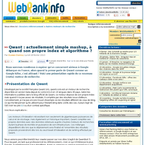 Lancement de Qwant, nouveau moteur de recherche français