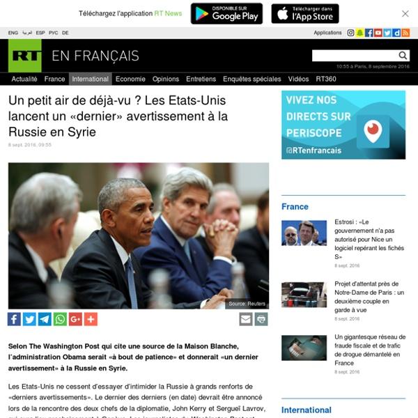 Un petit air de déjà-vu ? Le prix nobel de la paix lance un «dernier» avertissement à la Russie en Syrie