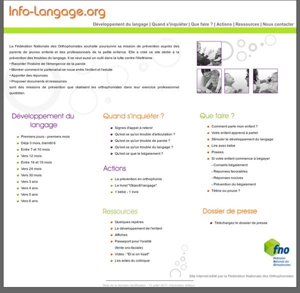 Info-langage.org - Prévention des troubles du langage.