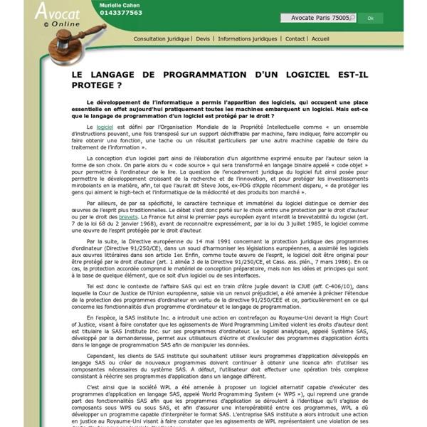 LE LANGAGE DE PROGRAMMATION D'UN LOGICIEL EST-IL PROTEGE ?