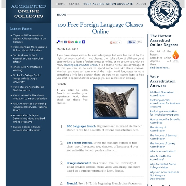 100 Free Foreign Language Classes Online