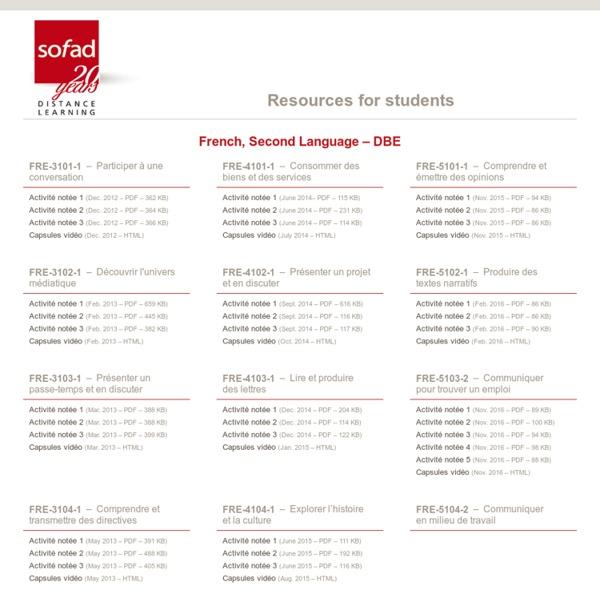 SOFAD – French, Second Language – Diversified Basic Education