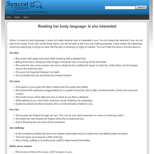 Reading her body language: Is she interested - Syncrat Publishing