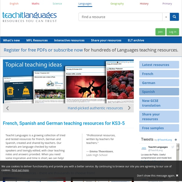 Teachit Languages - modern foreign languages teaching resources for the MFL classroom