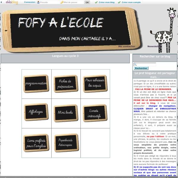 Langues au cycle 3 - Fofy à l'école