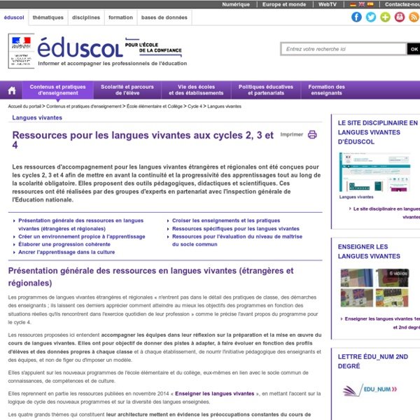 Ressources d'accompagnement Cycles 2, 3 et 4 - Ressources pour les langues vivantes aux cycles 2, 3 et 4