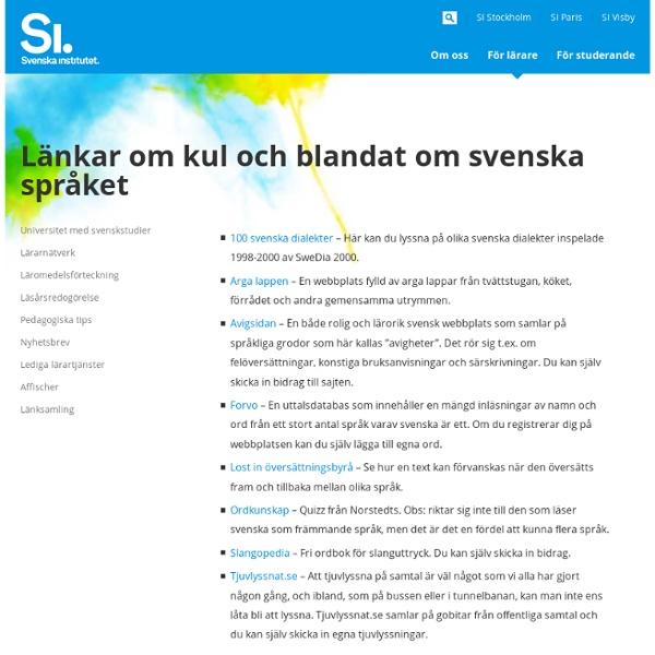 Länkar om kul och blandat om svenska språket