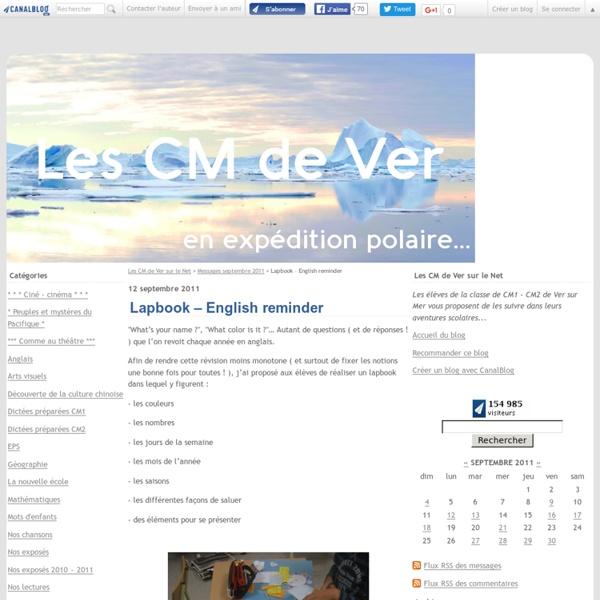 Lapbook – English reminder - Les CM de Ver sur le Net
