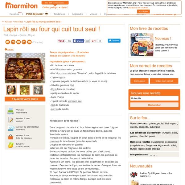 Lapin rôti au four qui cuit tout seul ! : Recette de Lapin rôti au four qui cuit tout seul !