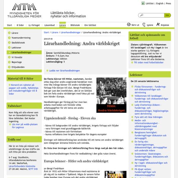 Lärarhandledning: Andra världskriget