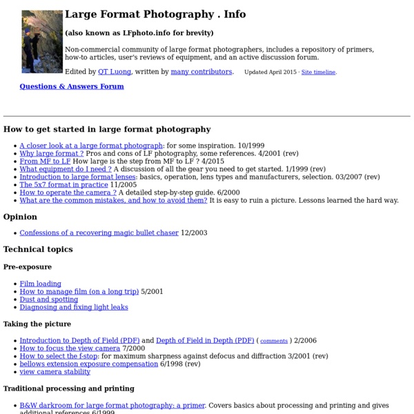 A large format photography home page
