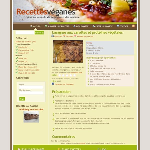 Recettes véganes - Lasagnes aux carottes et protéines végétales