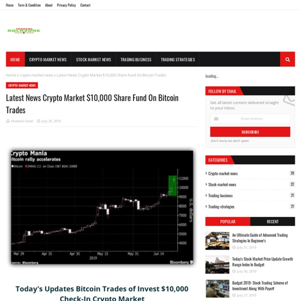 Latest News Crypto Market $10,000 Share Fund On Bitcoin Trades