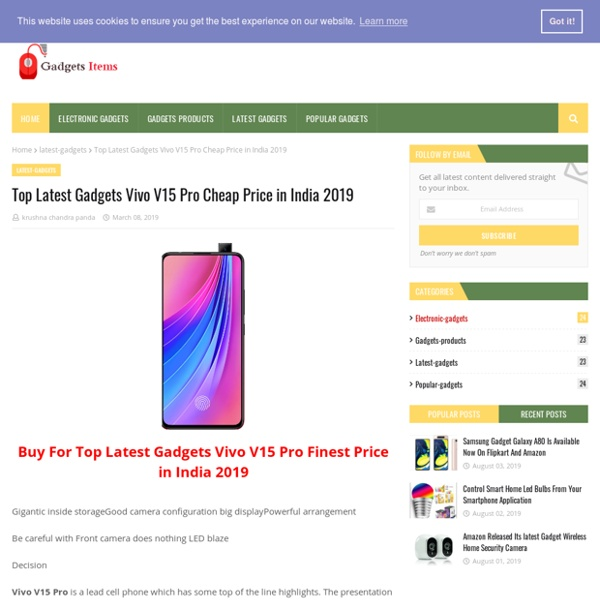 Top Latest Gadgets Vivo V15 Pro Cheap Price in India 2019