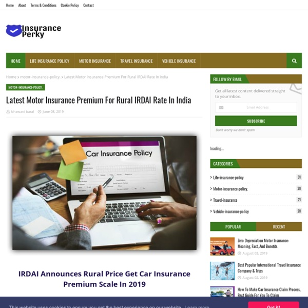 Latest Motor Insurance Premium For Rural IRDAI Rate In India