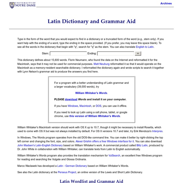 Latin Dictionary and Grammar Aid