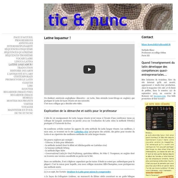 Latine loquamur ! - Tic et nunc - Latin pédagogie