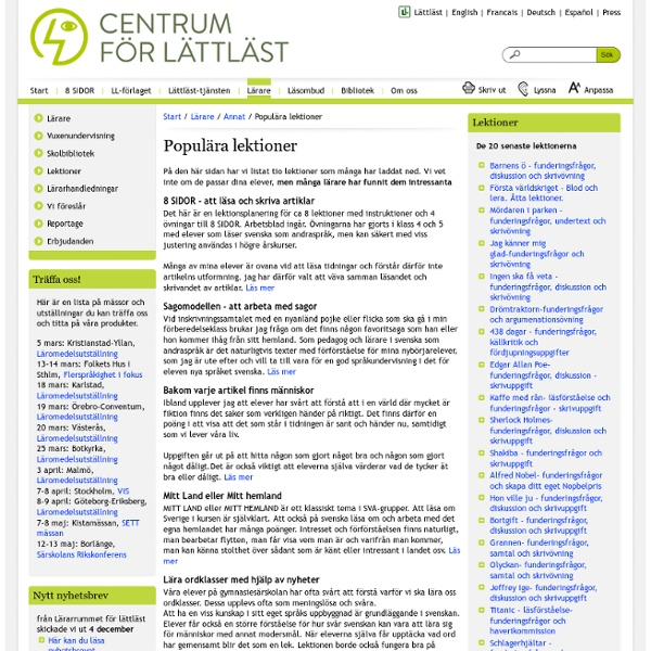 Centrum För Lättläst - Populära lektioner