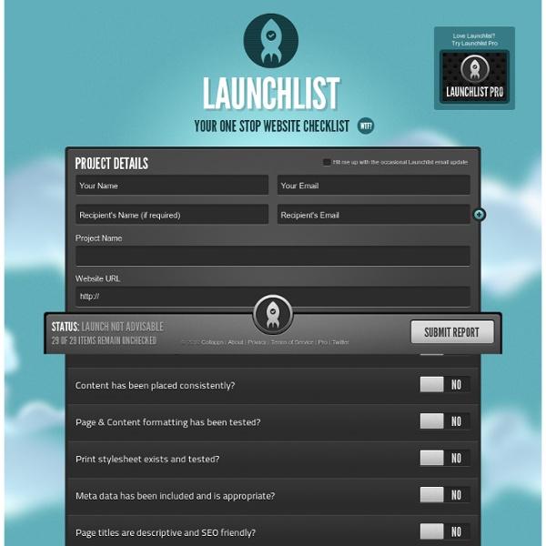 Launchlist - Your one stop website checklist!