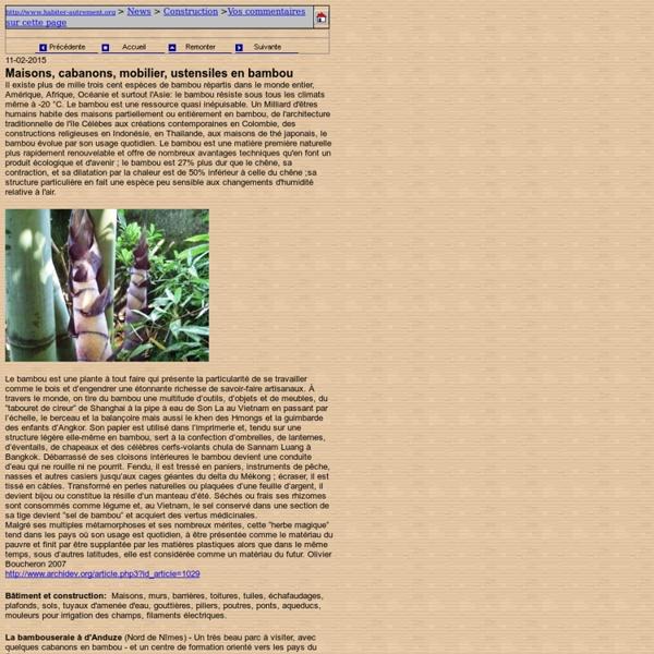 Le bambou et leurs divers usages