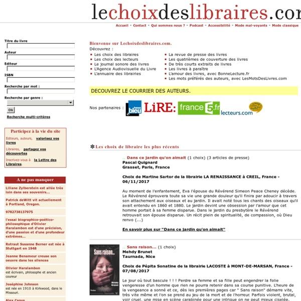 Le choix des libraires