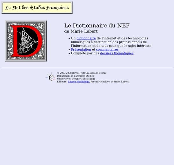 Dictionnaire du NEF - Net des Etudes Fançaises