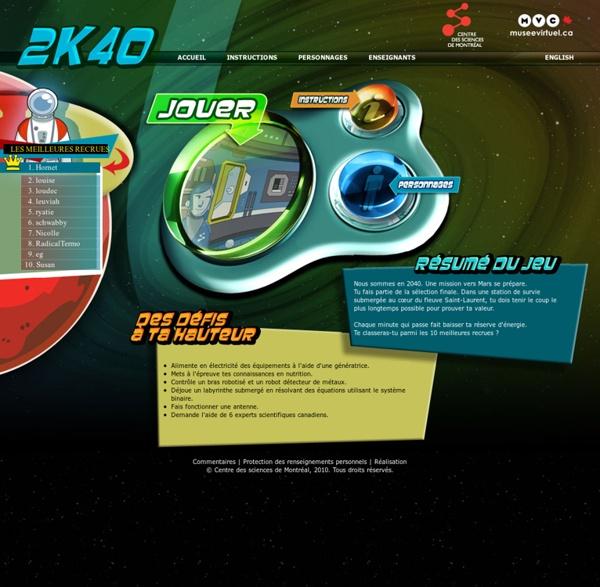 2K40 : tu es dans une navette spatiale en direction de Mars ! Pour y arriver, il va falloir réussir des défis !